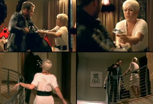 "Still frames from Pink's ""Please Don't Leave Me"" music video"
