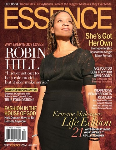 A faux Essence Magazine cover I created for Robin a few years ago. She loved it so much, she had it printed and framed in her house. We used it as the cover for the program of her memorial service.