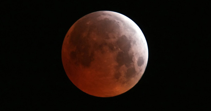 Blood moon during lunar eclipse.