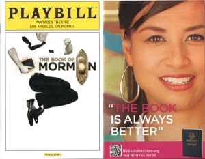 A playbill for The Book of Mormon with an advertisement from the Mormon church next to it.
